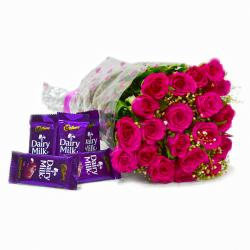 Bouquet of 20 Pink Roses with Five Cadbury Dairy Milk Chocolate