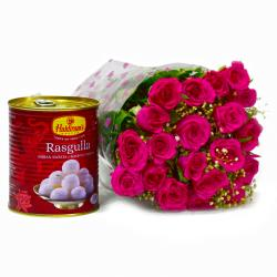Bouquet of 20 Pink Roses with Tempting Bengali Rasgullas