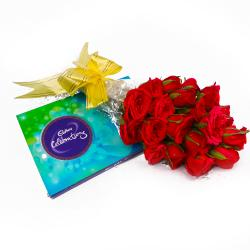 Bouquet of 20 Red Roses and Cadbury Celebration Chocolate Box Combo