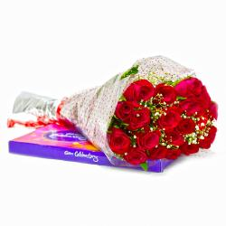Bouquet of 20 Red Roses with Cadbury Celebration Chocolate Pack