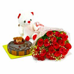 Bouquet of 20 Red Roses with Cute Teddy and Chocolate Cake
