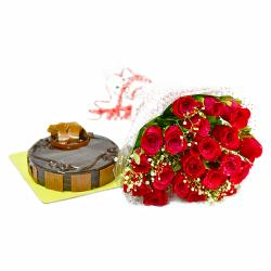 Bouquet of 20 Red Roses with Half Kg Chocolate Cake