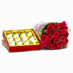 Bouquet of 20 Red Roses with Kaju Barfi Box