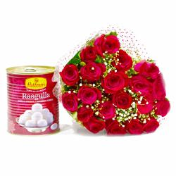 Bouquet of 20 Red Roses with Mouthwatering Rasgullas