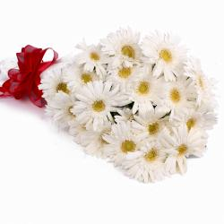 Bouquet of 20 White Gerberas with Tissue Wrapping