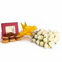 Bouquet of 20 White Roses and Assorted Cookies Combo