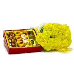 Bouquet of 20 Yellow Carnations with Box of Assorted Indian Sweets