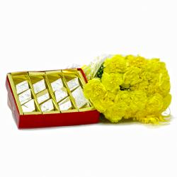 Bouquet of 20 Yellow Carnations with Kaju Barfi