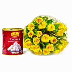 Bouquet of 20 Yellow Roses with Bengali Sweet Rasgullas