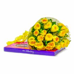 Bouquet of 20 Yellow Roses with Cadbury Celebration Chocolate Pack