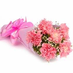 Bouquet of 6 Pink Carnations in Tissue Wrapped