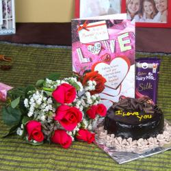 Bouquet of 6 Pink Roses Chocolate Cake and Love Card with Dairy Milk Silk
