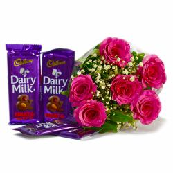 Bouquet of 6 Pink Roses of with Assorted Bars of Cadbury Chocolates