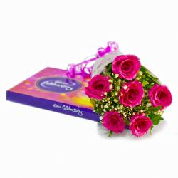 Bouquet of 6 Pink Roses with Cadbury Celebration Chocolate Box