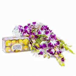 Bouquet of 6 Purple Orchid with Imported Ferrero Rocher Chocolate Box