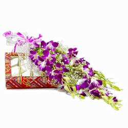 Bouquet of 6 Purple Orchids with Box of 500 Gms Kaju Barfi