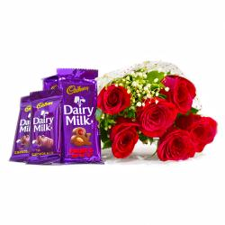 Bouquet of 6 Red Roses of with Assorted Bars of Cadbury Dairy Milk Chocolates