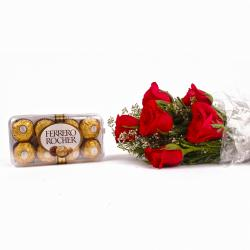 Bouquet of 6 Romantic Red Roses and 16 Pcs Ferrero Rocher Chocolate Box