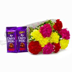 Bouquet of Assorted Carnations with Cadbury Fruit and Nut Chocolate Bars