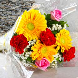 Bouquet of Bright Color Gerberas, Carnations with Roses