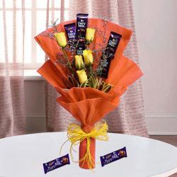 Bouquet of Cadbury Chocolates and Yellow Roses