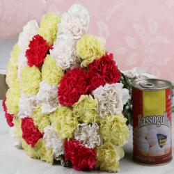 Bouquet of Carnations and Rasgulla Sweets