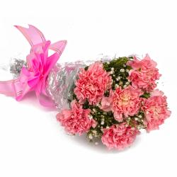 Bouquet of Cute Six Pink Carnations