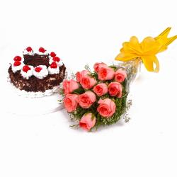 Bouquet of Dozen Pink Roses with Eggless Black Forest Cake