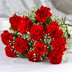 Bouquet of Dozen Red Carnations