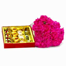 Bouquet of  Fifteen Pink Carnations with Box of Assorted Sweets