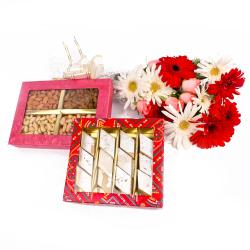 Bouquet of Gerberas and Roses with Dryfruits and Kaju Sweets