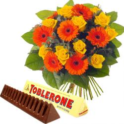 Bouquet of Gerberas and Roses with toblerone