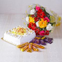 Bouquet of Mix flowers with Square Shape Pineapple Cake and Assorted Chocolates