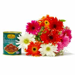 Bouquet of Mix Ten Gerberas with Gulab Jamuns