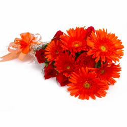 Bouquet of Orange Gerberas and Red Roses