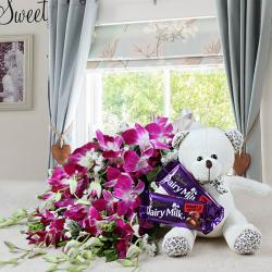 Bouquet of Orchid and Fruit N Nut Chocolate with Teddy