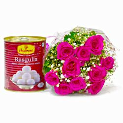 Bouquet of Pink Gerberas with Rasgullas