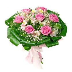 Bouquet of Pink Roses and Carnations