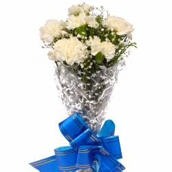 Bouquet of Pure Six White Carnations