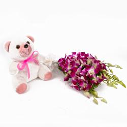 Bouquet of Purple Orchids with Teddy Bear