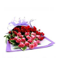 Bouquet of Red and Pink Roses