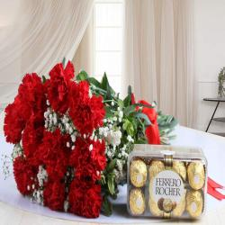 Bouquet of Red Carnation with Ferrero Rocher Chocolate