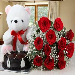 Bouquet of Red Roses and Chocolate Cake with Teddy Bear
