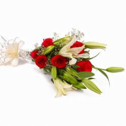 Bouquet of Red Roses with Lilies with Cellophane Packing
