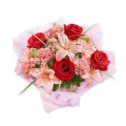 Bouquet of Red Roses with Pink Flowers