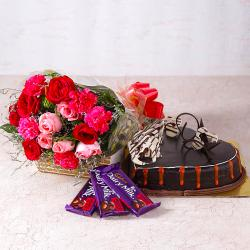 Bouquet of Roses and Carnations with Heartshape Cake and Cadbury Chocolates