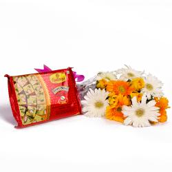 Bouquet of Roses and Gerberas with Pack of Soan Papdi Sweets