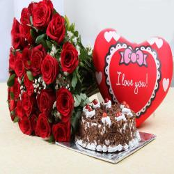 Bouquet of Roses with Heart Small Cushion and Black Forest Cake