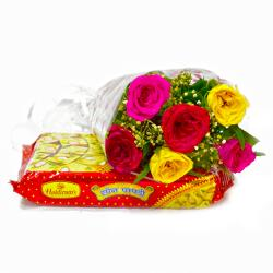 Bouquet of Six Colorful Roses with Soan Papdi