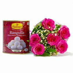 Bouquet of Six Pink Roses with Mouthwatering Rasgullas